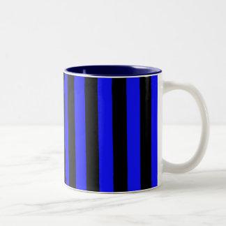 Modelo rayado azul y negro Coloured Taza Bicolor