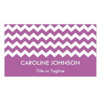 Modelo rayado blanco púrpura de Chevron de la Tarjetas De Visita