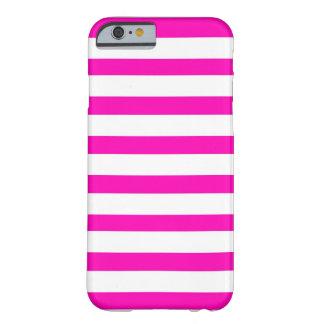 Modelo rayado del rosa fuerte de la diversión y funda de iPhone 6 barely there