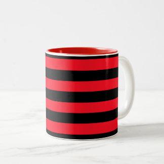 Modelo rayado rojo y negro Coloured Taza Bicolor