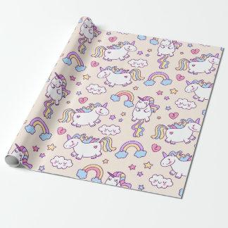 Modelo rechoncho del arco iris de los unicornios papel de regalo