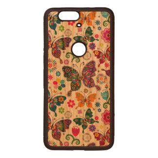 Modelo retro colorido de las mariposas y de flores fundas de madera para nexus s6p