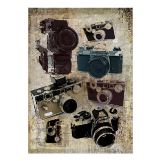Modelo retro de las cámaras del Grunge del vintage Poster