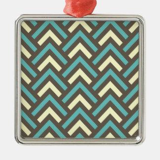 Modelo retro de las rayas de los triángulos adorno cuadrado plateado