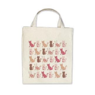 Modelo retro de los amantes del gato bolsas lienzo