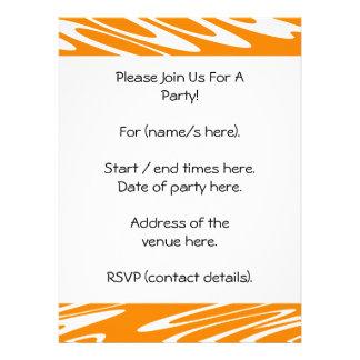 Modelo retro del naranja y blanco invitaciones personalizada