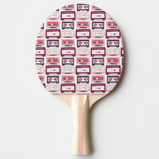 Modelo retro fresco del vector de los casetes del pala de ping pong