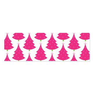 Modelo retro rosado bonito del árbol de navidad tarjetas de visita mini