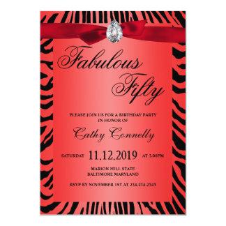 Modelo rojo atractivo cincuenta fabulosos de la invitación 12,7 x 17,8 cm