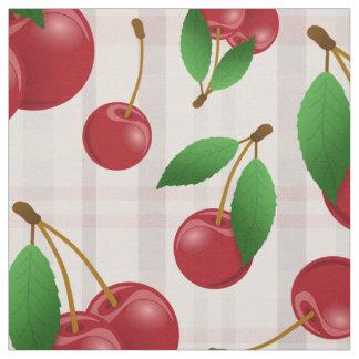 modelo rojo de la fruta de las cerezas en la tela
