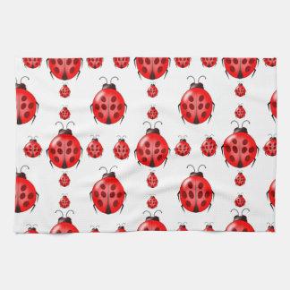Modelo rojo de la mariquita toallas