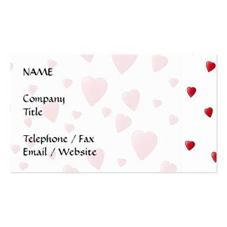 Modelo rojo de los corazones del amor tarjetas de visita