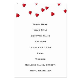 Modelo rojo de los corazones del amor tarjetas de visita grandes