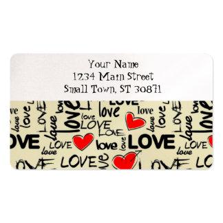 Modelo rojo del corazón del amor tarjetas de visita