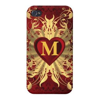 Modelo rojo del corazón y del oro con monograma iPhone 4 coberturas
