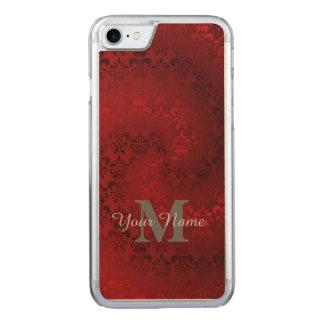 Modelo rojo del monograma del damasco del vintage funda para iPhone 7 de carved
