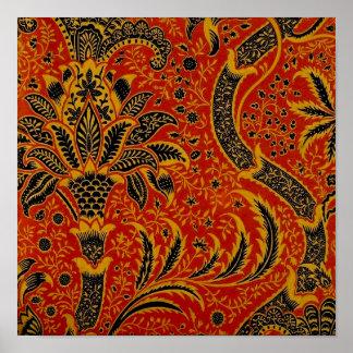 Modelo rojo del papel pintado de la alfombra posters