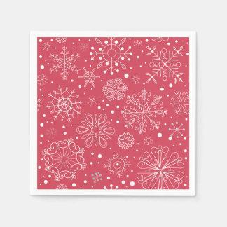 Modelo rojo divertido de los copos de nieve servilleta desechable