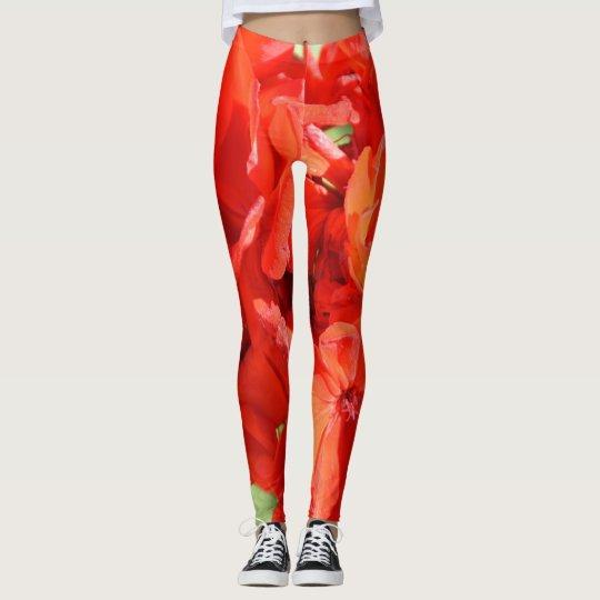 Modelo rojo floral de las polainas de las señoras leggings