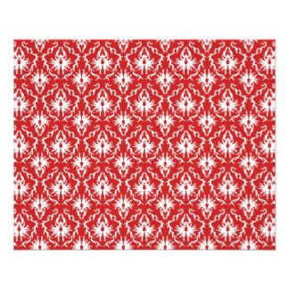 Modelo rojo y blanco brillante del damasco folleto 11,4 x 14,2 cm