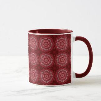 Modelo rojo y blanco de la mandala taza