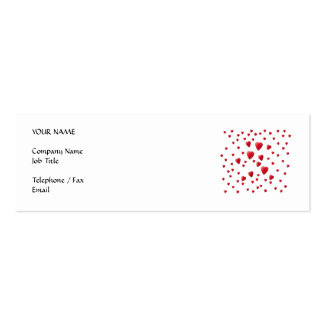 Modelo rojo y blanco de los corazones del amor tarjetas de visita mini