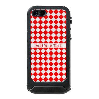 Modelo rojo y blanco del diamante por funda para iPhone 5 incipio ATLAS ID
