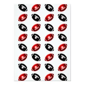 Modelo rojo y negro brillante del fútbol invitación 13,9 x 19,0 cm