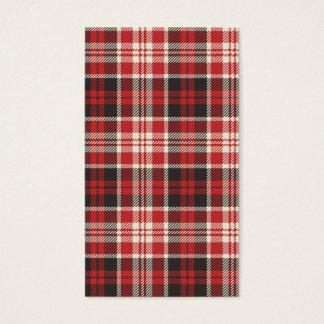 Modelo rojo y negro de la tela escocesa tarjeta de visita
