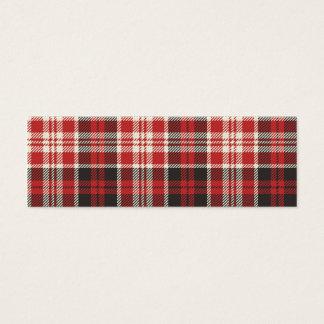 Modelo rojo y negro de la tela escocesa tarjeta de visita mini