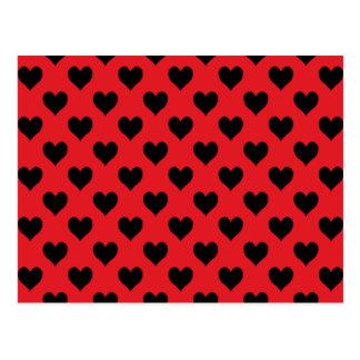Modelo rojo y negro del corazón postal
