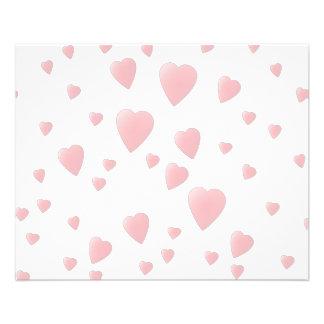Modelo rosa claro de los corazones del amor folleto 11,4 x 14,2 cm
