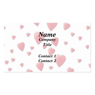 Modelo rosa claro de los corazones del amor tarjetas de visita