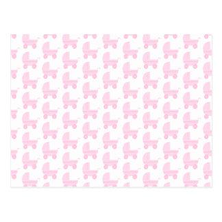 Modelo rosa claro y blanco del cochecito de bebé postal