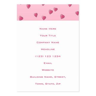Modelo rosado bonito de los corazones del amor tarjetas de visita grandes