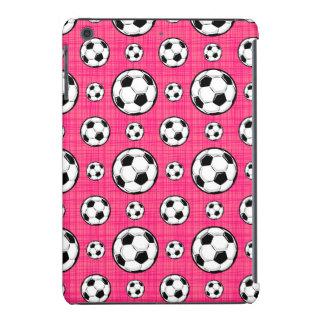 Modelo rosado brillante del balón de fútbol funda de iPad mini