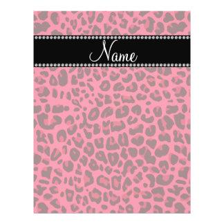 Modelo rosado conocido personalizado del leopardo folleto 21,6 x 28 cm