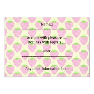 Modelo rosado de la fresa invitación 8,9 x 12,7 cm