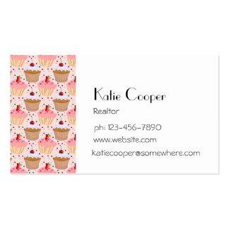 Modelo rosado de la magdalena tarjeta de visita