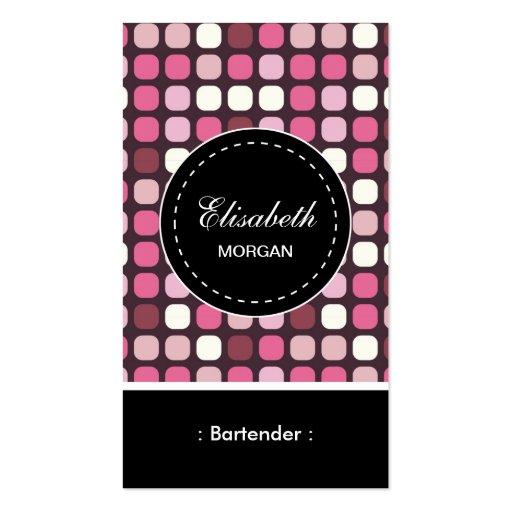 Modelo rosado de la polca del camarero plantilla de tarjeta de negocio