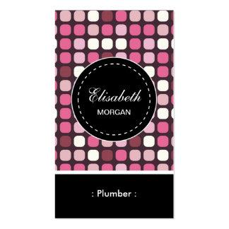 Modelo rosado de la polca del fontanero tarjetas de visita