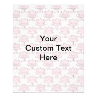 Modelo rosado de la torta con el texto de encargo folleto 11,4 x 14,2 cm