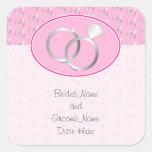 Modelo rosado de los anillos de bodas colcomanias cuadradas personalizadas