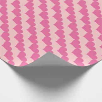 Modelo rosado de los corazones de la tarjeta del papel de regalo
