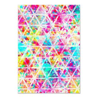 Modelo rosado de neón de los triángulos de la invitación 8,9 x 12,7 cm