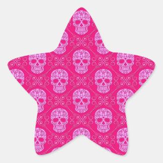 Modelo rosado del cráneo del azúcar pegatina en forma de estrella