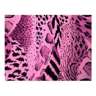 Modelo rosado del estampado de animales tarjetas postales