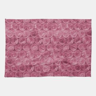 Modelo rosado del plástico de burbujas toalla de mano