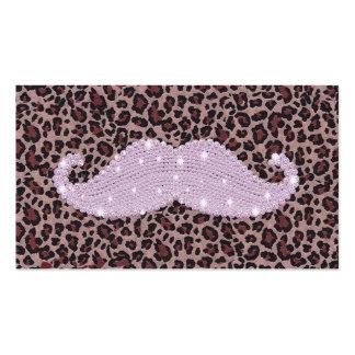 Modelo rosado divertido del bigote y del estampado tarjetas de visita