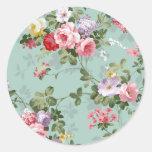 Modelo rosado elegante de los rosas del vintage pegatinas redondas